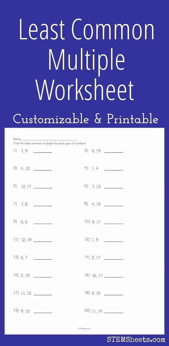 Least Common Multiple Worksheet Unique Math Least Mon Multiple and Worksheets On Pinterest