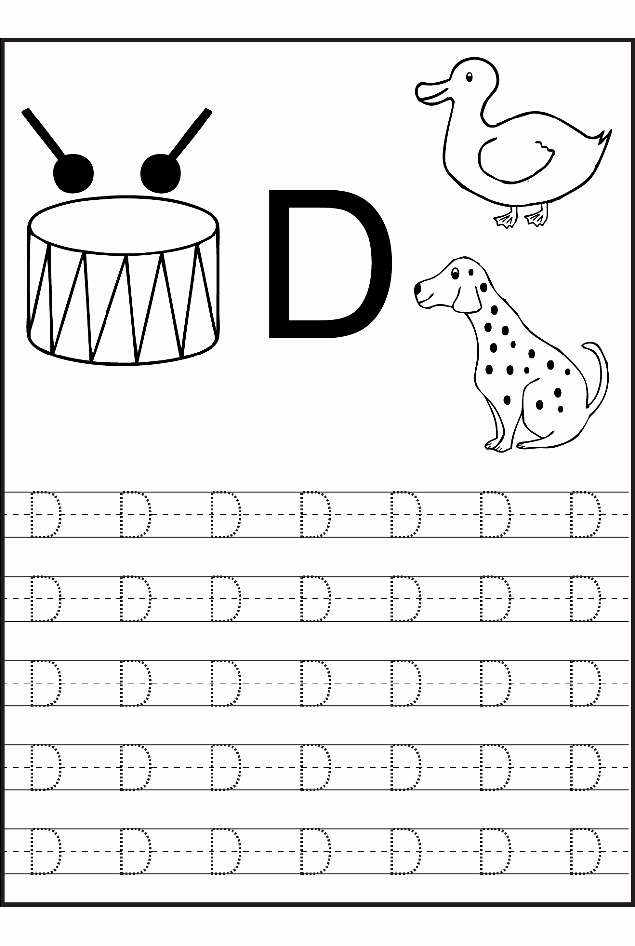 Letter D Worksheet for Preschool Beautiful Trace Letter D Worksheets