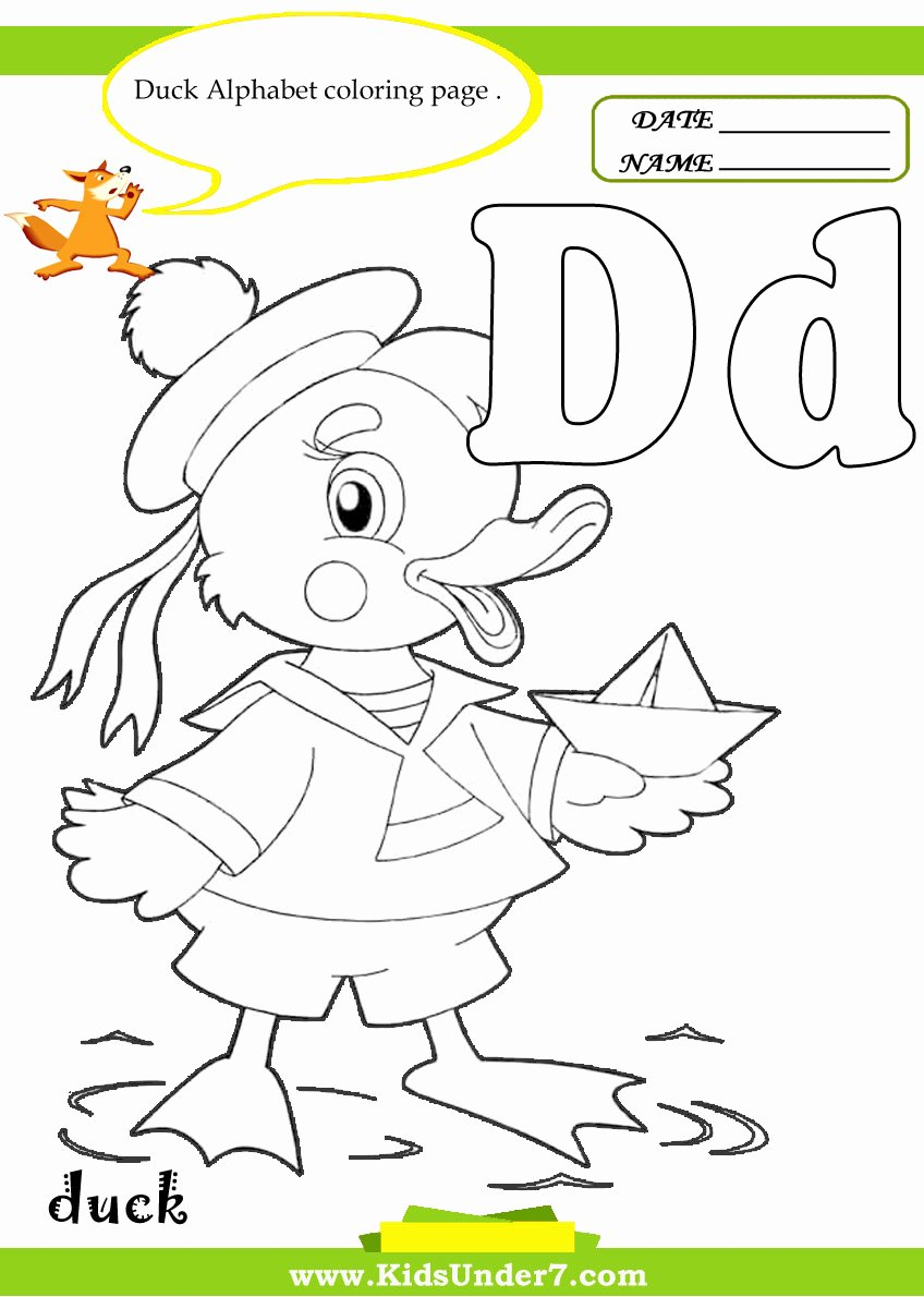 Letter D Worksheet for Preschool Best Of Duck Coloring Pages for Preschoolers
