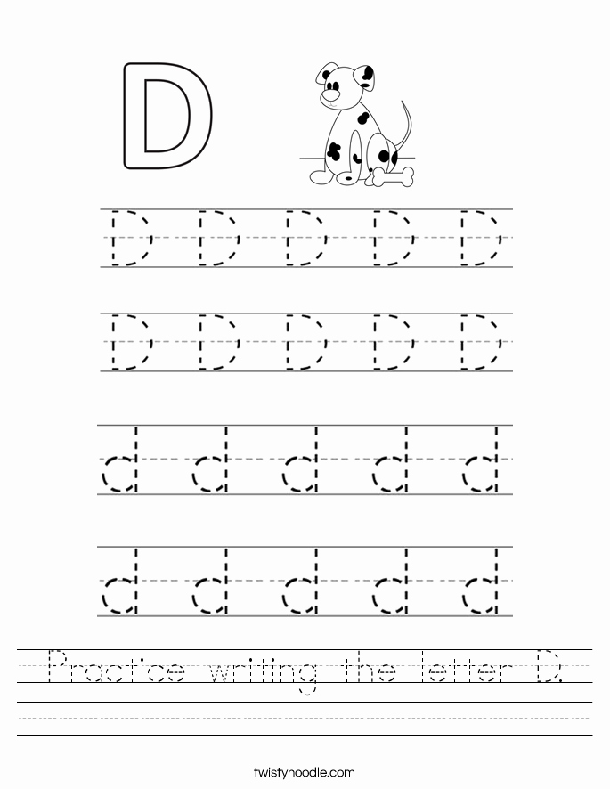 Letter D Worksheet for Preschool Fresh Practice Writing the Letter D Worksheet Twisty Noodle