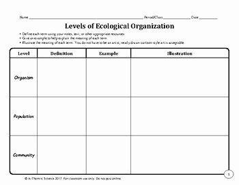 Level Of organization Worksheet Inspirational Levels Of Ecological organization Chart by A Thom Ic