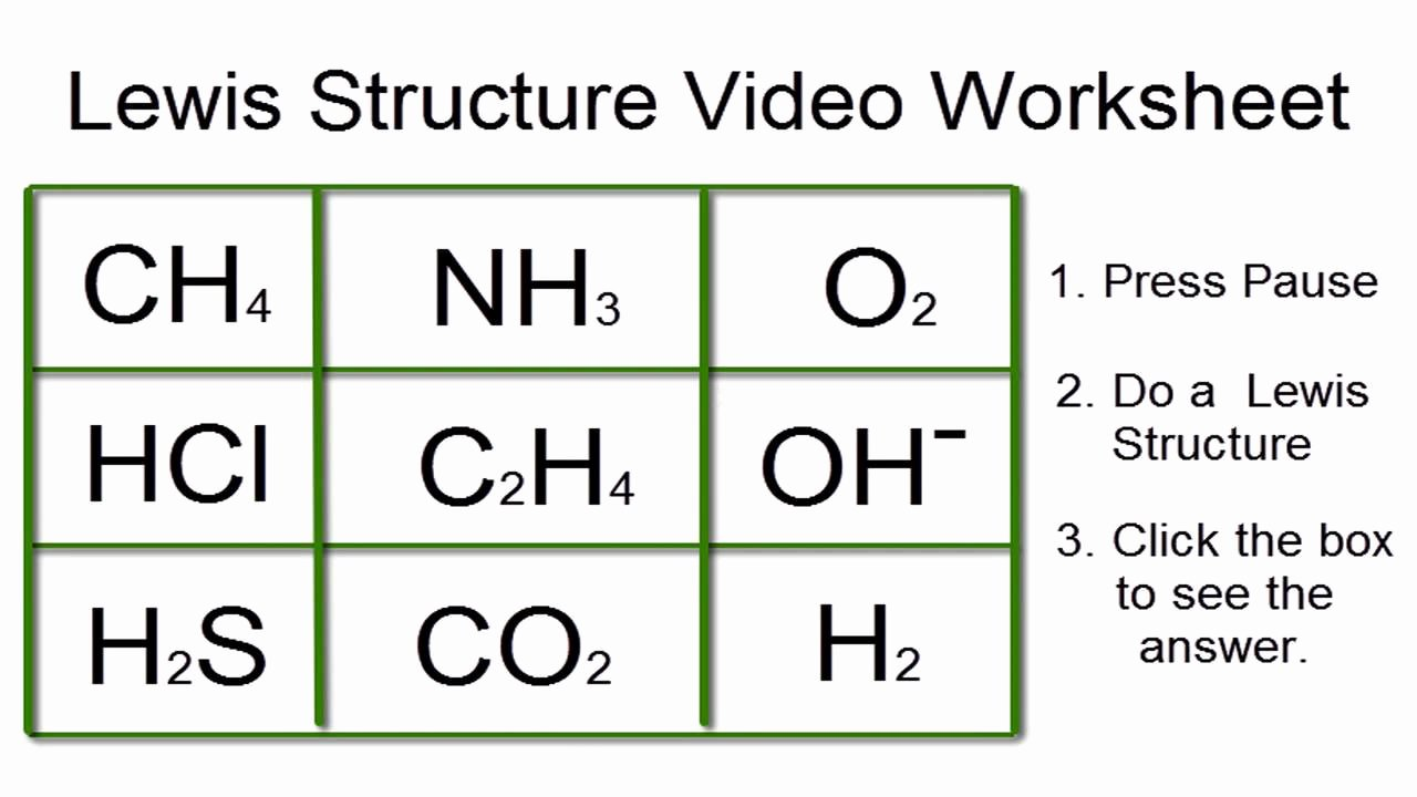 Lewis Dot Diagram Worksheet Unique Lewis Structures Worksheet Video Worksheet with Answers