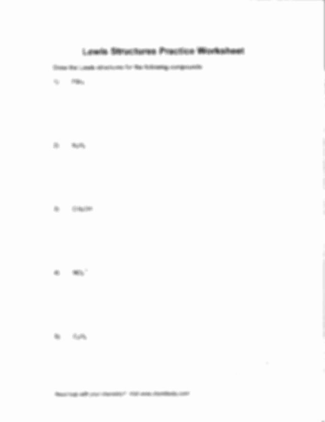 Lewis Dot Structure Practice Worksheet Lovely Lewis Dot Structure Worksheet