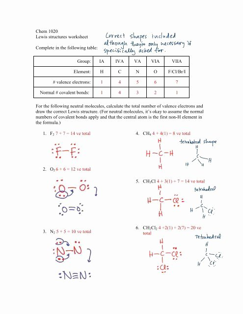 Lewis Dot Structure Worksheet New Drawing Lewis Structures Worksheet