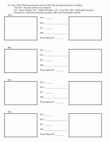 Lewis Structure Practice Worksheet Inspirational Drawing Lewis Structures Worksheet