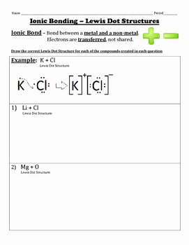 Lewis Structure Worksheet with Answers Elegant Ionic Bonding Using Lewis Dot Structures by Chemistry Wiz