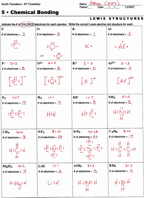 Lewis Structure Worksheet with Answers Lovely Lewis Structure Practice Worksheet