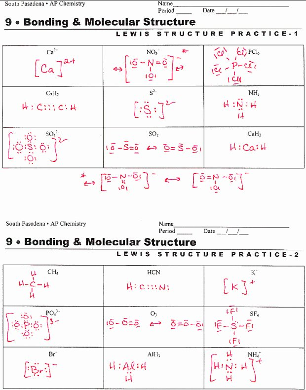 Lewis Structures Worksheet with Answers New Lewis Dot Structure Worksheet