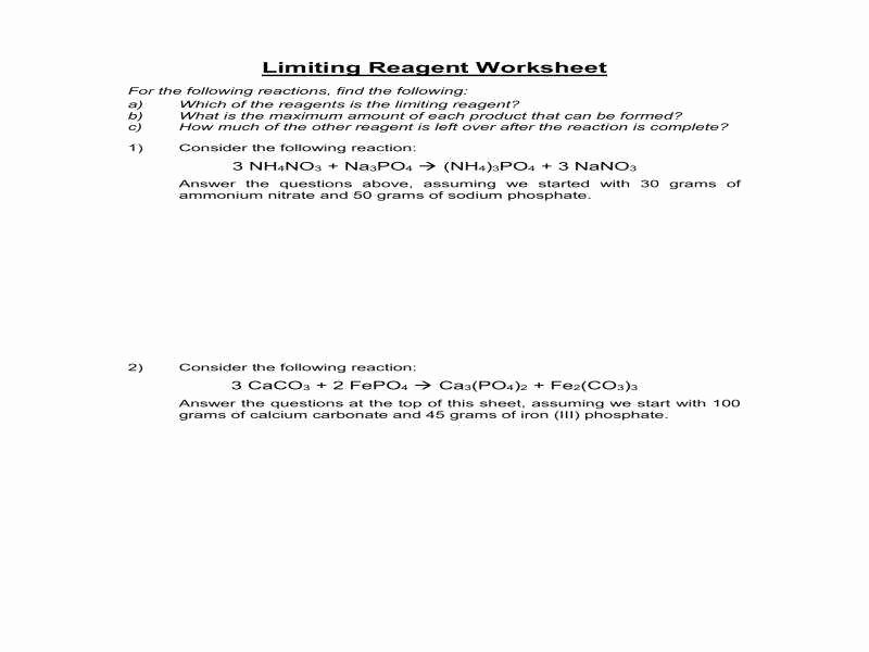 Limiting Reactant Worksheet Answers Awesome Stoichiometry Limiting Reagent Worksheet
