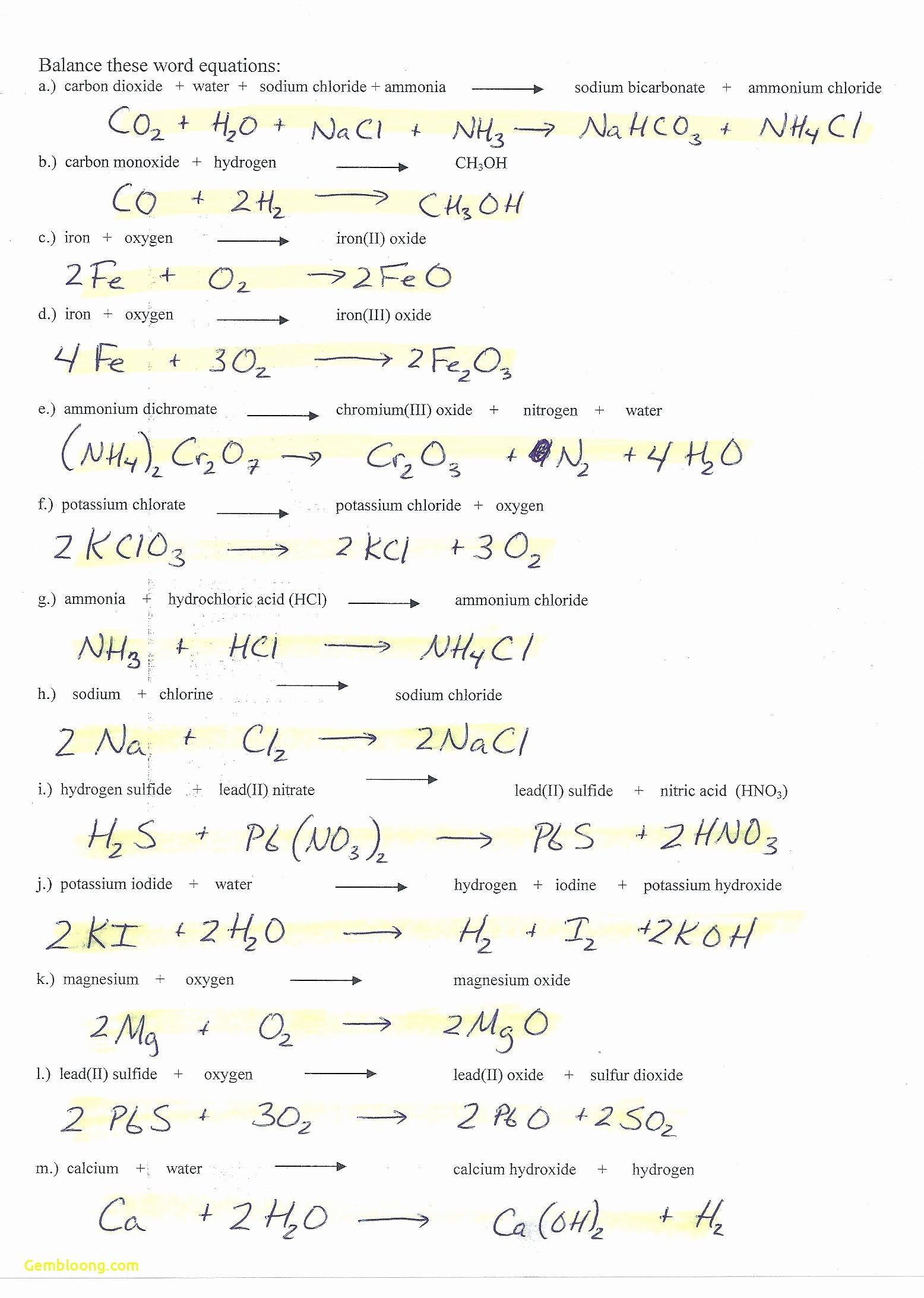Limiting Reactant Worksheet Answers Beautiful Limiting Reagent Worksheet 1 Answers Cramerforcongress