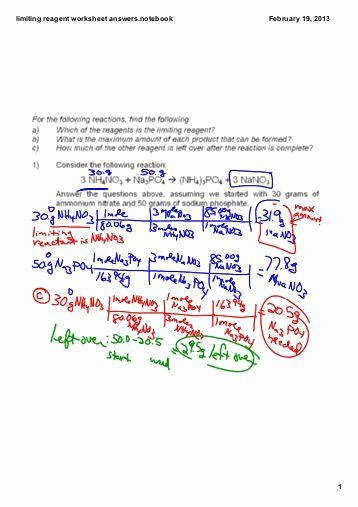 Limiting Reactant Worksheet Answers Beautiful Limiting Reagent Worksheet Answers