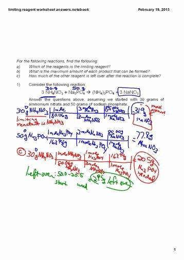 Limiting Reactant Worksheet Answers Beautiful Limiting Reagent Worksheet Answers