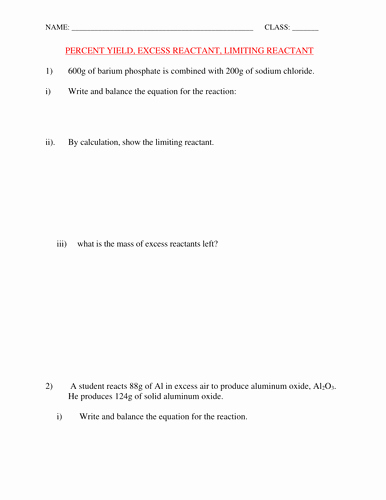Limiting Reactant Worksheet Answers Beautiful Percent Yield and Limiting Reactant Worksheet with Answers