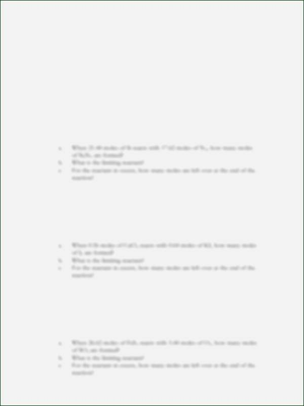 Limiting Reactant Worksheet Answers Best Of Limiting Reactant and Percent Yield Worksheet