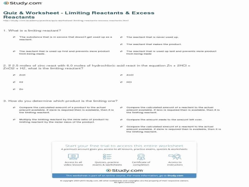 Limiting Reactant Worksheet Answers Best Of Limiting Reagent Worksheet Answers