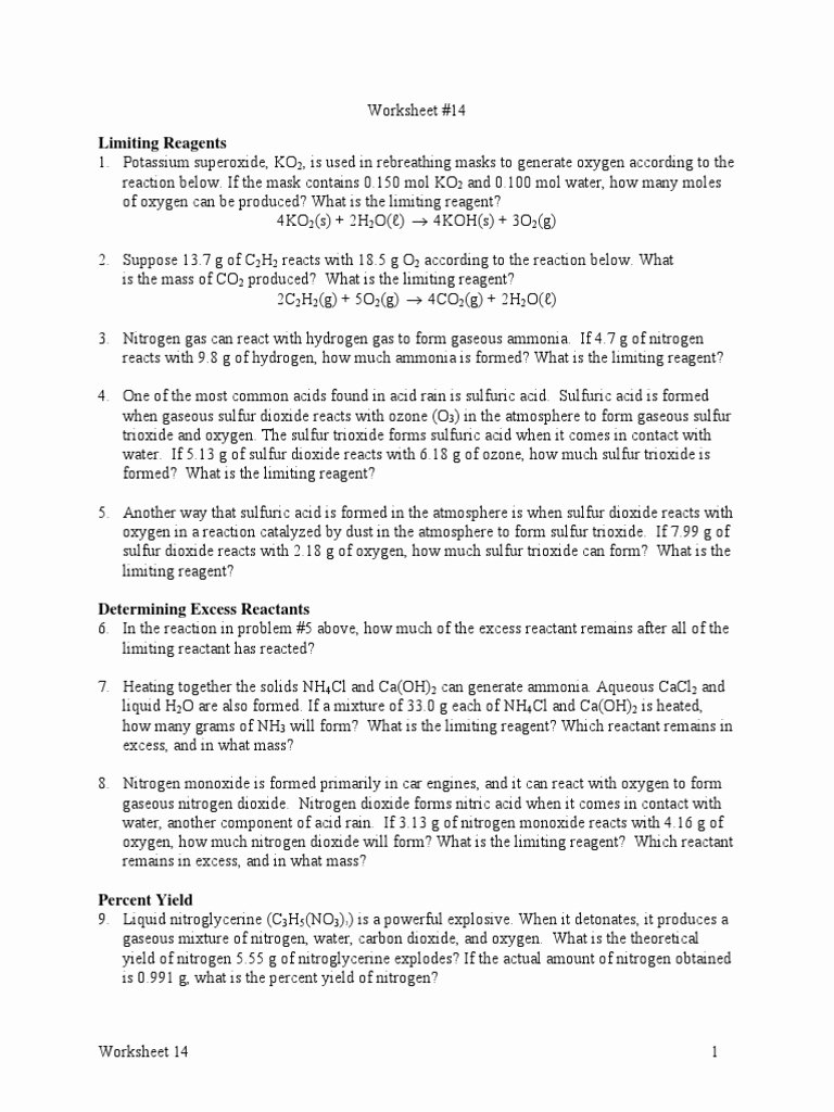 Limiting Reactant Worksheet Answers Elegant 123 Worksheet Limiting Reactant and Percent Yield