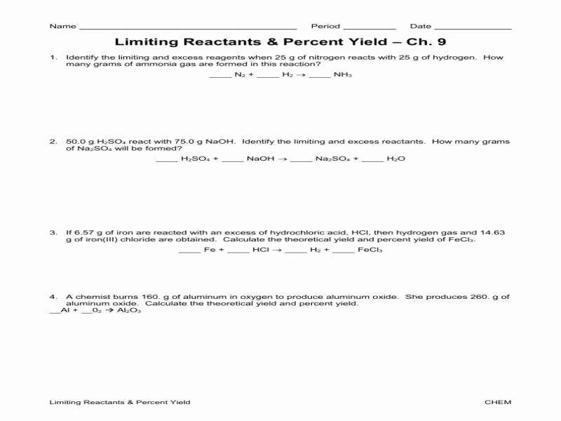 Limiting Reactant Worksheet Answers Elegant Stoichiometry Limiting Reagent Worksheet