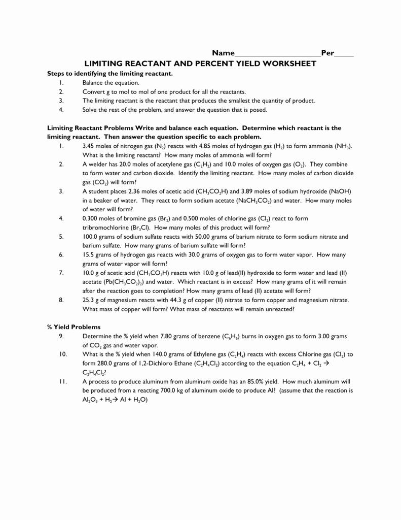 Limiting Reactant Worksheet Answers Inspirational 123 Worksheet Limiting Reactant and Percent Yield