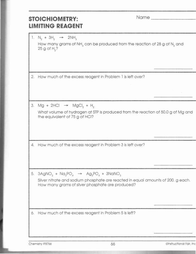 Limiting Reactant Worksheet Answers Lovely Stoichiometry Worksheet Answers