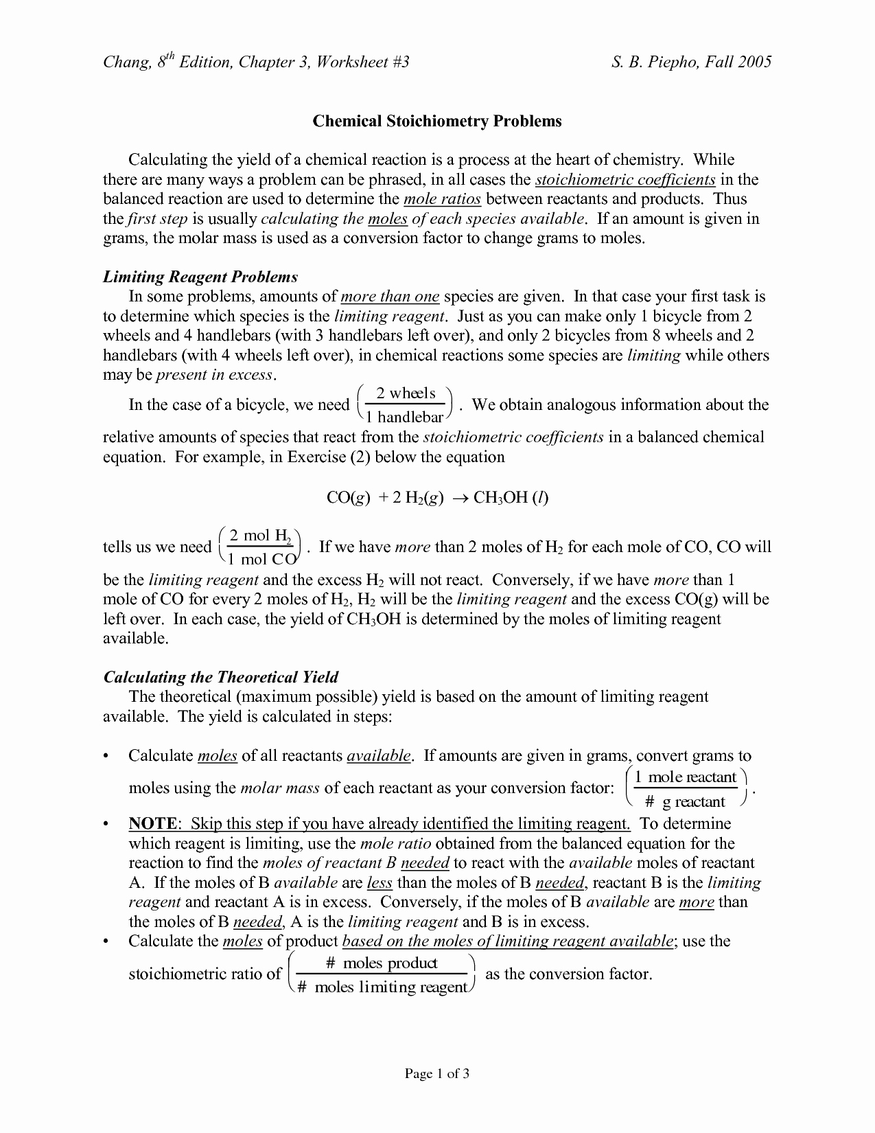 Limiting Reactant Worksheet Answers New 14 Best Of Mole Conversion Worksheet Chemistry