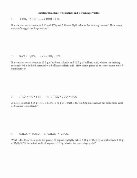 Limiting Reactant Worksheet Answers New Limiting Reactant theoretical Yield and Percent Yield