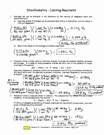 Limiting Reactant Worksheet Answers New Pre Lab assignment Stoichiometry and Limiting Reactants