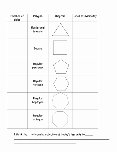 Line Of Symmetry Worksheet Beautiful Symmetry Of Regular Polygons by Davidash1987 Teaching