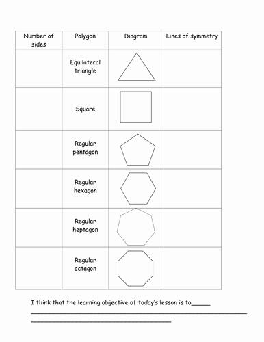 Line Of Symmetry Worksheet Beautiful Symmetry Of Regular Polygons by Davidash1987 Teaching