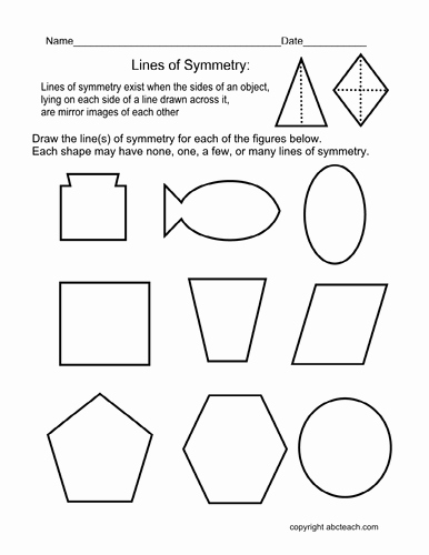 Line Of Symmetry Worksheet Elegant Worksheet Draw Lines Of Symmetry Elem by Abcteach