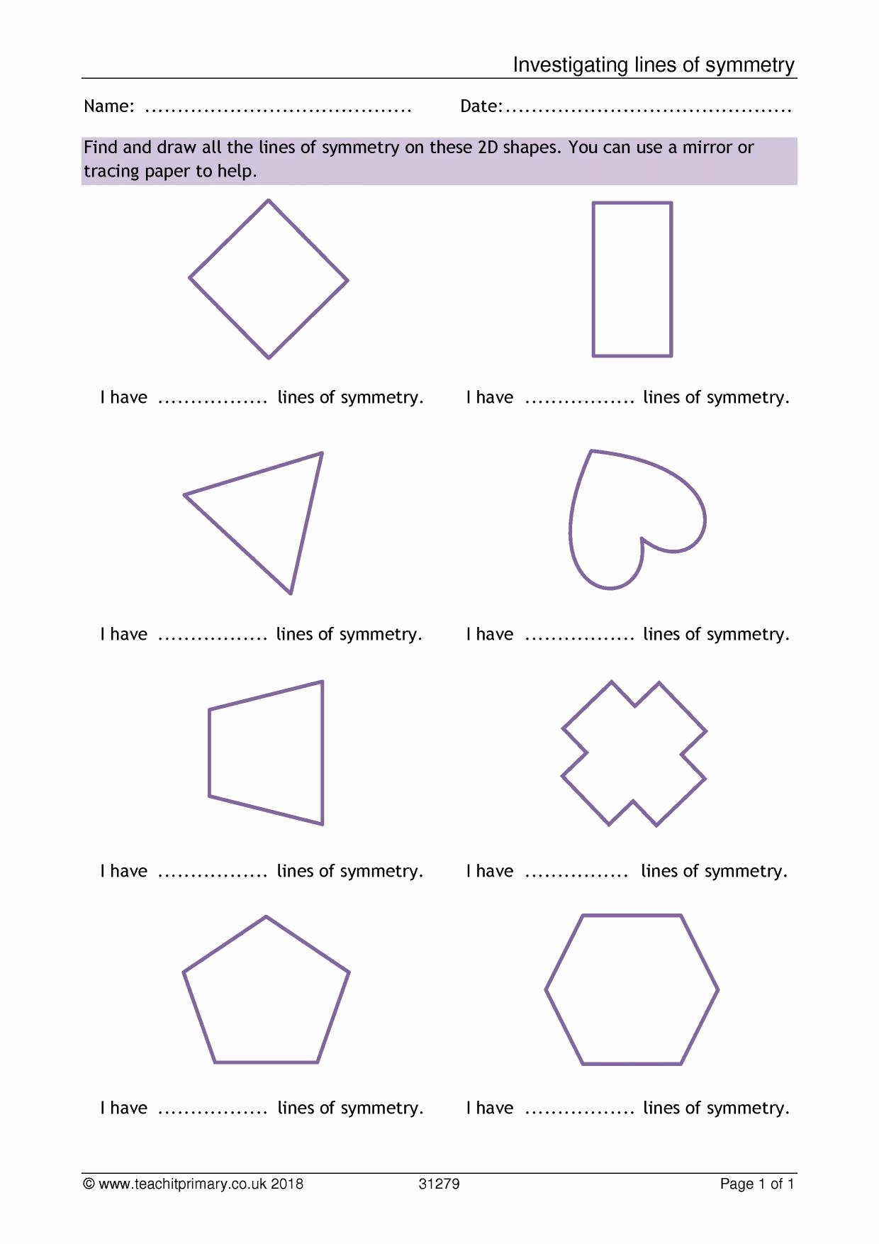 Line Of Symmetry Worksheet Unique Primary Numeracy and Maths Resources Ks1 Geometry