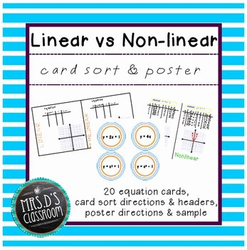 Linear and Nonlinear Functions Worksheet Unique Linear Vs Nonlinear Activities Card sort & Poster by Mrs