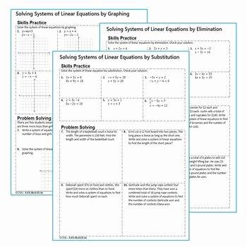 Linear Equation Word Problems Worksheet Best Of Systems Of Linear Equations Homework Worksheets Skills