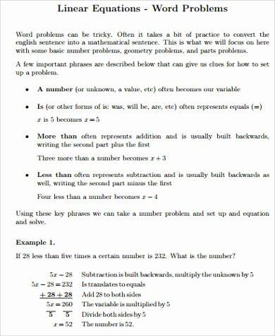 Linear Equation Word Problems Worksheet Luxury Sample Word Problem Worksheet 9 Examples In Pdf Word
