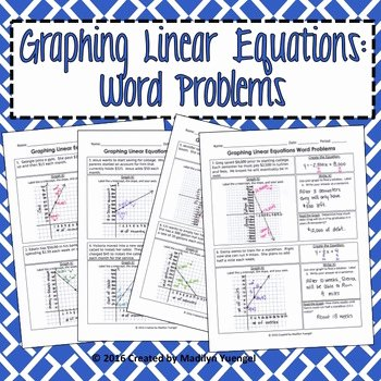 Linear Equation Word Problems Worksheet New Madilyn Yuengel Teaching Resources