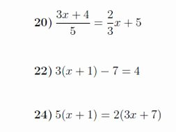 solving linear equations worksheet with solutions
