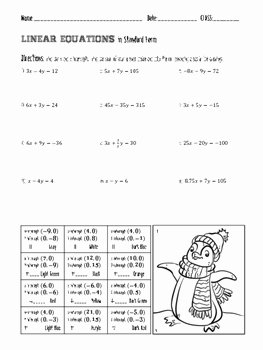 Linear Equation Worksheet with Answers Elegant Linear Equations In Standard form Coloring Page by 123