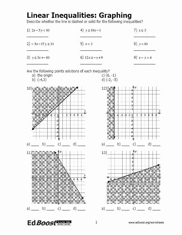 Linear Equations and Inequalities Worksheet Fresh Linear Inequalities Graphing
