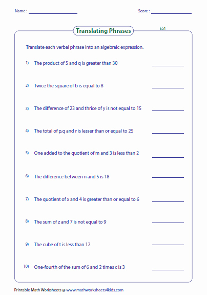 Linear Equations and Inequalities Worksheet Fresh Translating Phrases Into Algebraic Expressions Worksheets