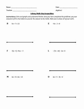 Linear Equations and Inequalities Worksheet Lovely solving Linear Inequalities Worksheet with Riddle by