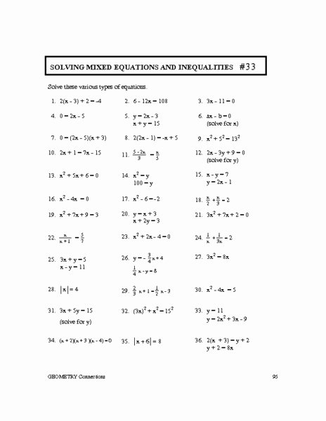 Linear Equations and Inequalities Worksheet New solving Linear Equations and Inequalities Worksheets the