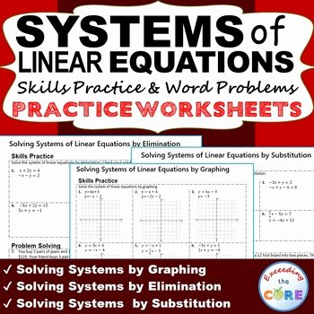 Linear Equations Word Problems Worksheet Beautiful Systems Of Linear Equations Homework Worksheets Skills