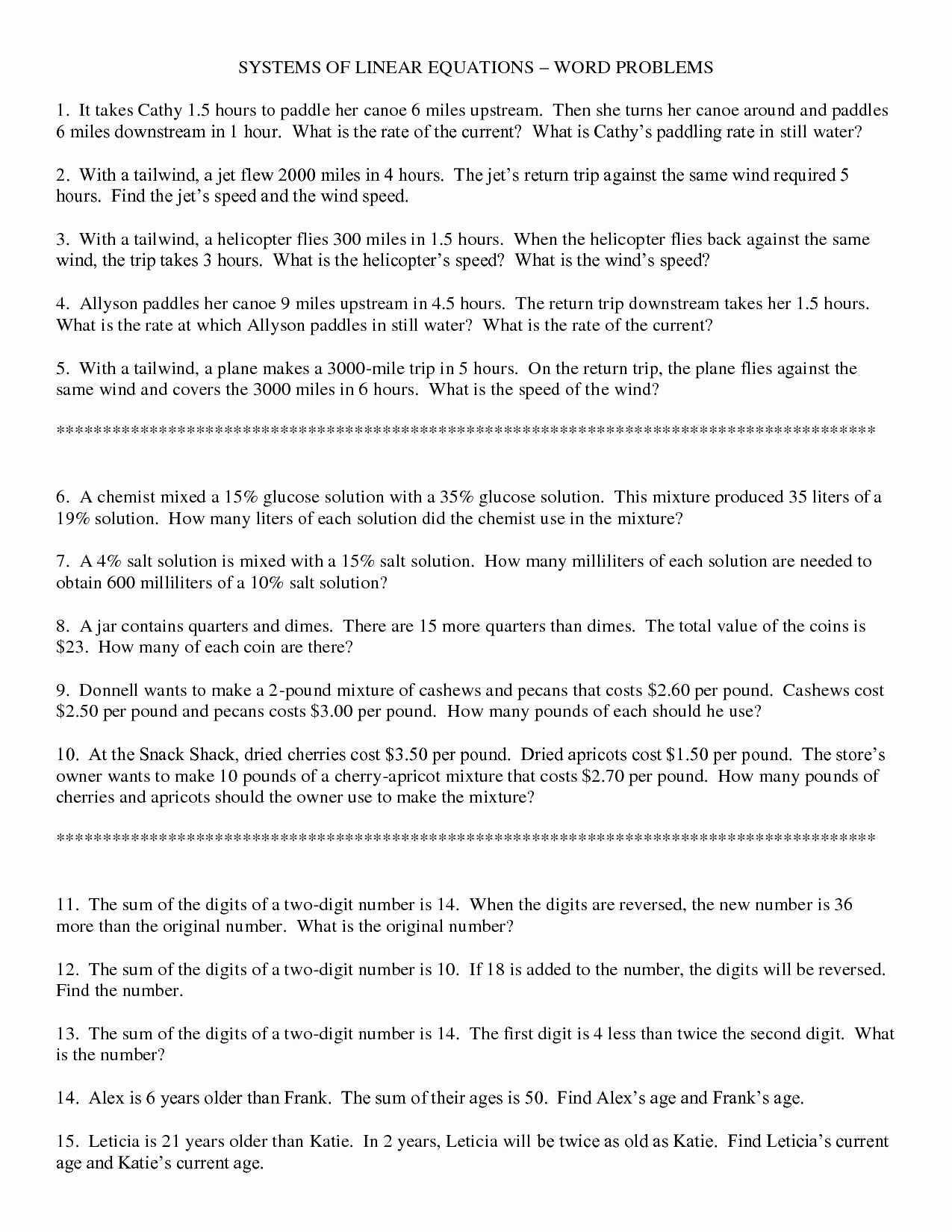 Linear Equations Word Problems Worksheet Fresh Linear Equation Age Problems with Answers Tessshebaylo