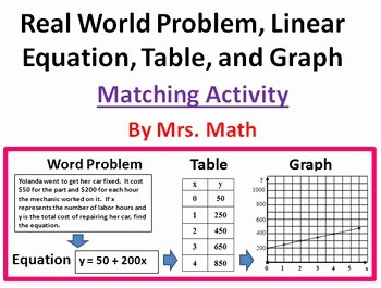 Linear Equations Word Problems Worksheet Luxury Real World Linear Equations Tables and Graphs Matching