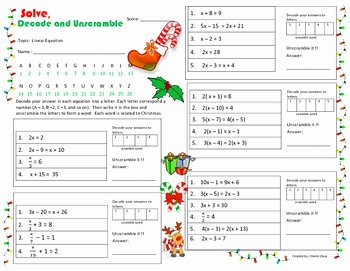 Linear Equations Worksheet Pdf Beautiful Christmas theme Linear Equation solve Decode and