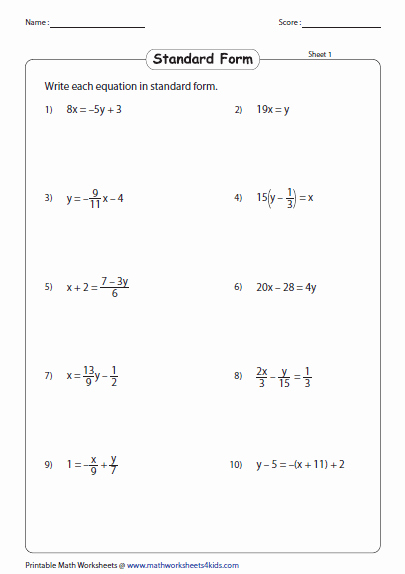 Linear Equations Worksheet Pdf Best Of Linear Equation Of A Line Worksheets
