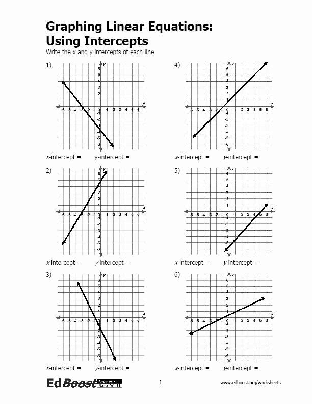 Linear Equations Worksheet Pdf Elegant Graphing Linear Equations Using Intercepts