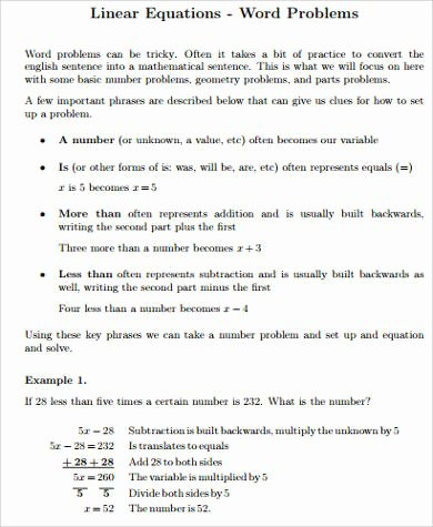 Linear Equations Worksheet Pdf New Sample Word Problem Worksheet 9 Examples In Pdf Word