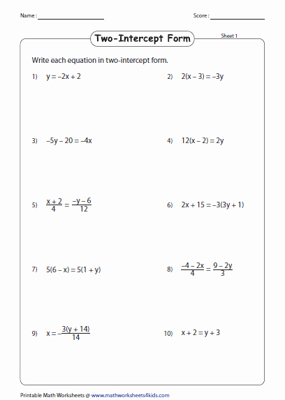 Linear Equations Worksheet with Answers Elegant Linear Equation Of A Line Worksheets