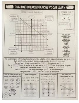 Linear Equations Worksheet with Answers Fresh Graphing Linear Equations Vocabulary Guided Notes
