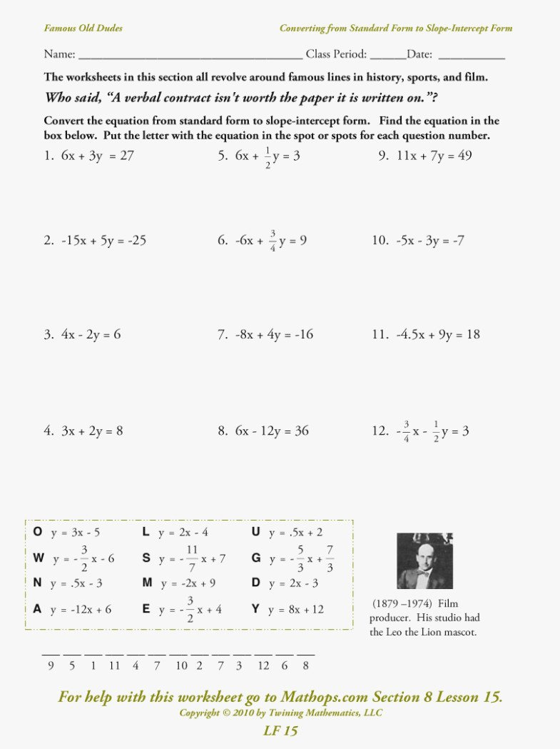 Linear Equations Worksheet with Answers Inspirational Lovely Linear Equations Worksheet with Answers